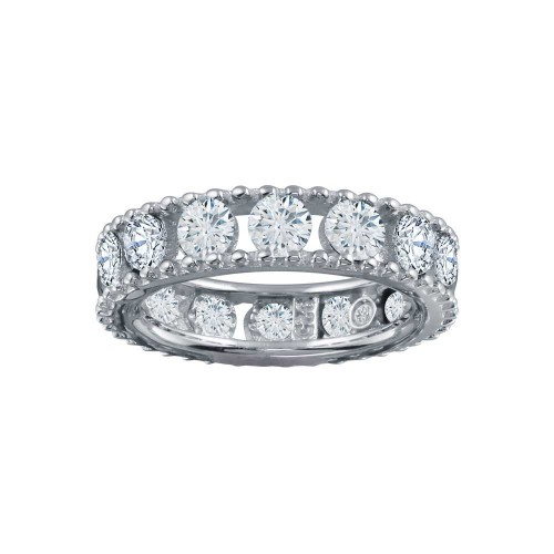 Wholesale Sterling Silver 925 Rhodium Plated Round CZ Band - BGR01293CLR