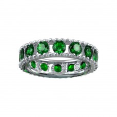 Wholesale Sterling Silver 925 Rhodium Plated Round Green CZ Band - BGR01293GRN