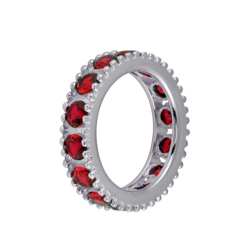 Wholesale Sterling Silver 925 Rhodium Plated Round Red CZ Band - BGR01293RED