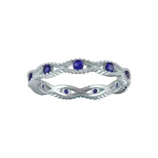 Wholesale Sterling Silver 925 Rhodium Plated Intersecting Waves Blue CZ Ring - BGR01294BLU