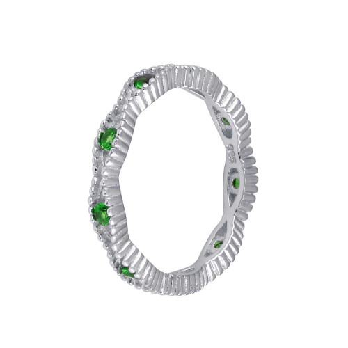 Wholesale Sterling Silver 925 Rhodium Plated Intersecting Waves Green CZ Ring- BGR01294GRN