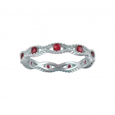 Wholesale Sterling Silver 925 Rhodium Plated Intersecting Waves Red CZ Ring- BGR01294RED