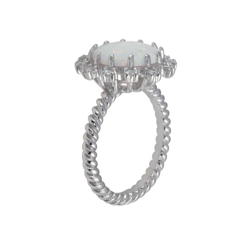 Wholesale Sterling Silver 925 Rhodium Plated Round Flower Opal Stone Ring - BGR01297