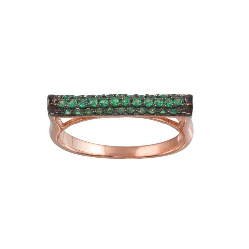 Wholesale Sterling Silver 925 Rose Gold Plated Green CZ Ring - BGR01298