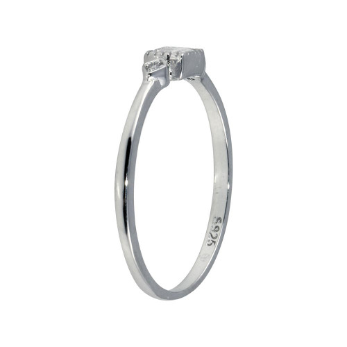 Wholesale Sterling Silver 925 Rhodium Plated Square CZ Center Ring - BGR01299