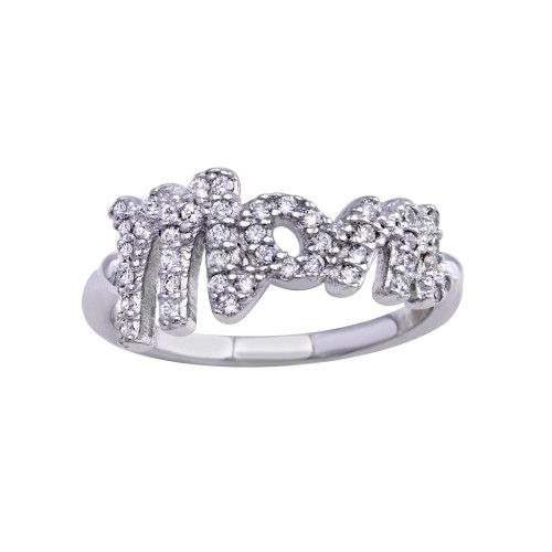 Wholesale Sterling Silver 925 Rhodium Plated CZ Mom Ring - BGR01301