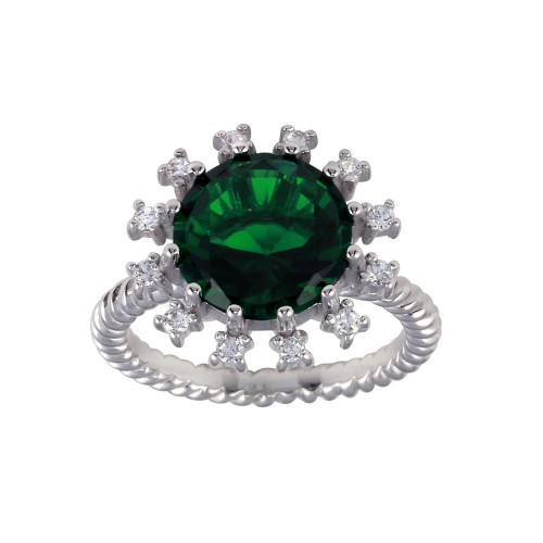 Wholesale Sterling Silver 925 Rhodium Plated Green Center Flower CZ Ring with Rope Band - BGR01302GRN