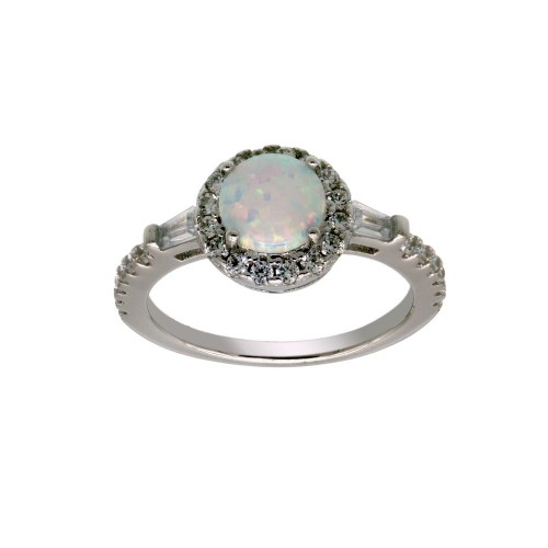Wholesale Sterling Silver 925 Rhodium Plated Round Halo Opal CZ Ring - BGR01303