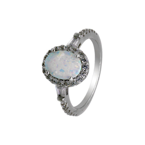 Wholesale Sterling Silver 925 Rhodium Plated Oval Halo Opal CZ Ring - BGR01304