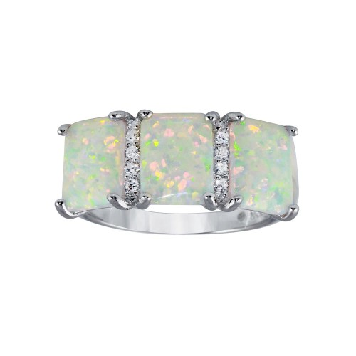 Wholesale Sterling Silver 925 Rhodium Plated Triple Square Synthetic Opal CZ Ring - BGR01305