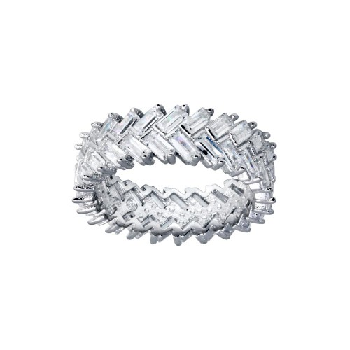 Wholesale Sterling Silver 925 Rhodium Plated Baguette CZ Ring - BGR01307