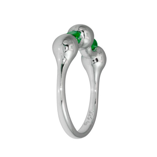 Wholesale Sterling Silver 925 Rhodium Plated Green Stone CZ Ring - BGR01308GRN