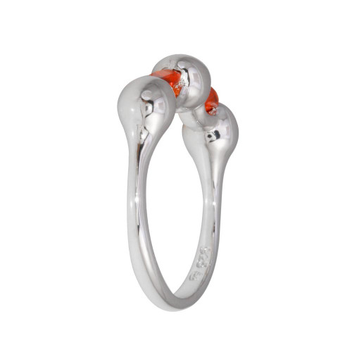 Wholesale Sterling Silver 925 Rhodium Plated Red Stone CZ Ring - BGR01308RED