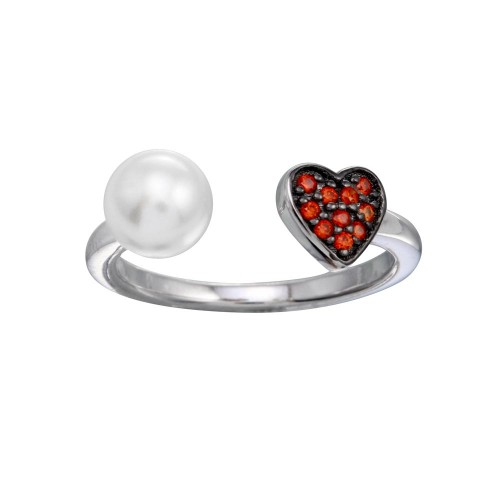 Wholesale Sterling Silver 925 Open End Synthetic Pearl CZ Heart Ring - BGR01310
