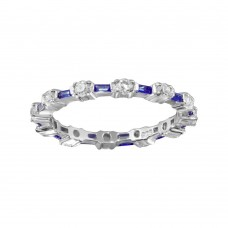 Wholesale Sterling Silver 925 Alternating Blue Clear CZ Eternity Band - BGR01311BLU