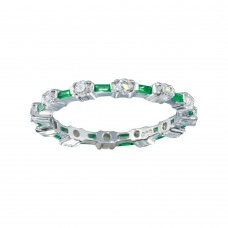 Wholesale Sterling Silver 925 Alternating Green Clear CZ Eternity Band - BGR01311GRN