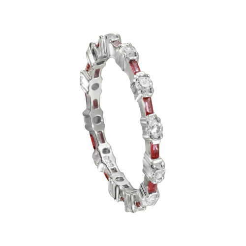Wholesale Sterling Silver 925 Alternating Red Clear CZ Eternity Band - BGR01311RED