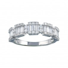 Wholesale Sterling Silver 925 Rhodium Plated 5 Station Baguette CZ Ring - BGR01312
