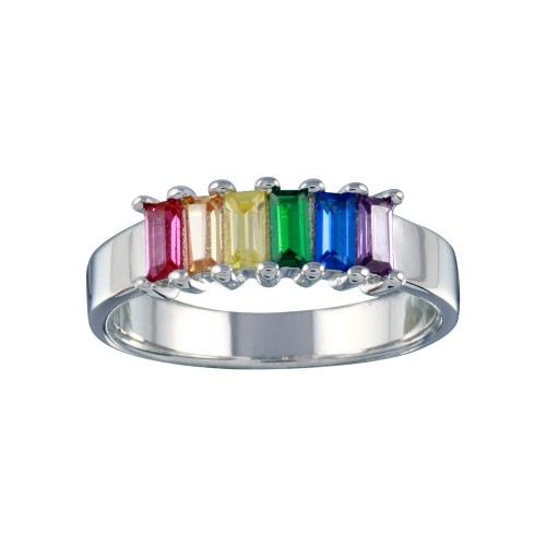 Wholesale Sterling Silver 925 Rhodium Plated Multicolor Baguette CZ Ring - BGR01313