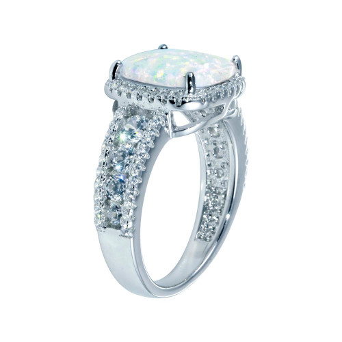 Wholesale Sterling Silver 925 Rhodium Plated Opal Stone With CZ Ring - BGR01314