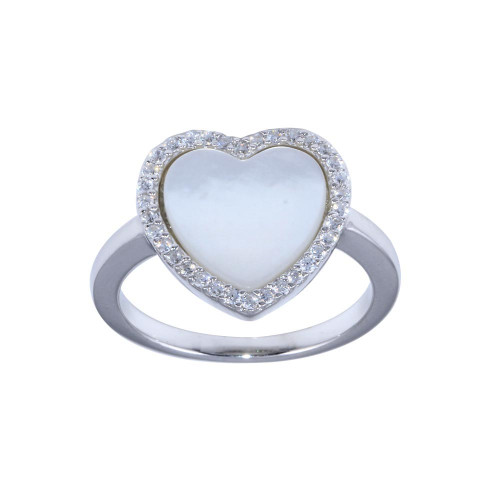 Wholesale Sterling Silver 925 Rhodium Plated Opal Stone Heart With CZ Ring - BGR01315