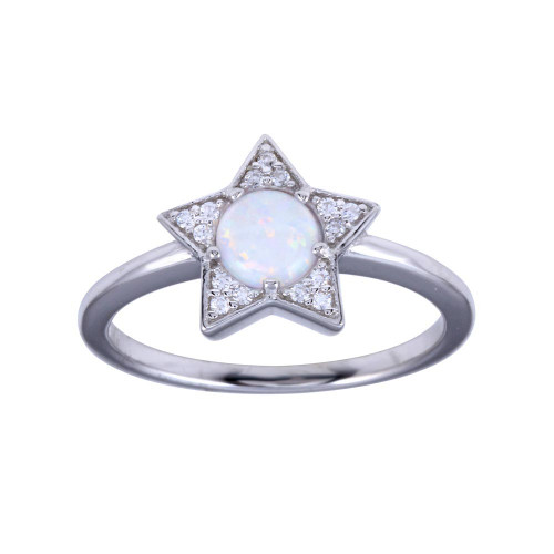 Wholesale Sterling Silver 925 Rhodium Plated Opal Stone Star With CZ Ring - BGR01316