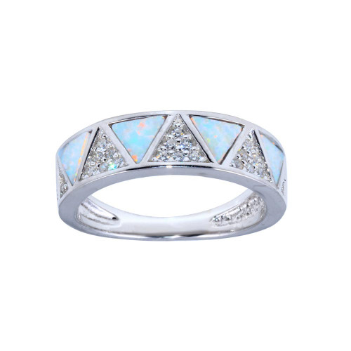 Wholesale Sterling Silver 925 Rhodium Plated Opal Stone Triangle With CZ Ring - BGR01317