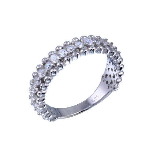 Wholesale Sterling Silver 925 Rhodium Plated Clear CZ Ring - BGR01318CLR