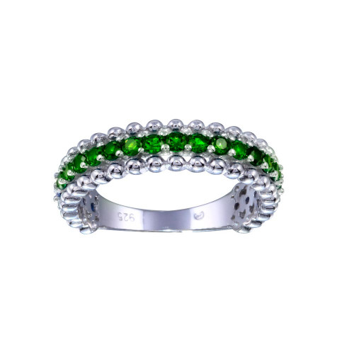 Wholesale Sterling Silver 925 Rhodium Plated Green CZ Ring - BGR01318GRN