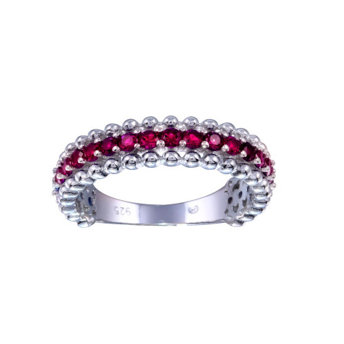 Wholesale Sterling Silver 925 Rhodium Plated Red CZ Ring - BGR01318RED