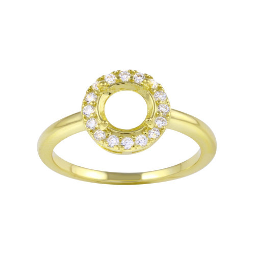 Wholesale Sterling Silver 925 Gold Plated Clear CZ Round Mounting Ring - BGR01333GP
