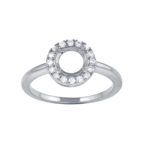 Wholesale Sterling Silver 925 Rhodium Plated Clear CZ Round Mounting Ring - BGR01333