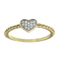 Wholesale Sterling Silver 925 Gold Plated Small Heart Ring with CZ - BGR01181