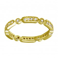 Wholesale Sterling Silver 925 Gold Plated CZ Eternity Ring - BGR01186GP