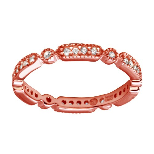 Wholesale Sterling Silver 925 Rose Gold Plated CZ Eternity Ring - BGR01186RGP