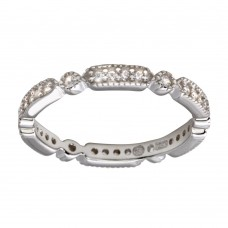Wholesale Sterling Silver 925 Rhodium Plated CZ Eternity Ring - BGR01186RHD