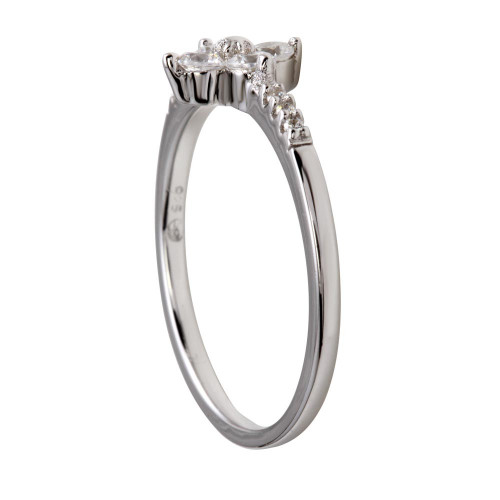 Wholesale Sterling Silver 925 Rhodium Plated Flower CZ Ring - BGR01187