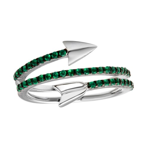 Wholesale Sterling Silver 925 Rhodium Plated Wrap Arrow Green CZ Ring - BGR01189GREEN