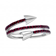 Wholesale Sterling Silver 925 Rhodium Plated Wrap Arrow Red CZ Ring - BGR01189RED