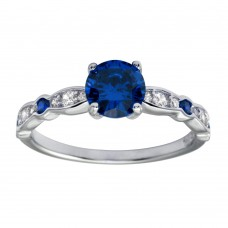 Wholesale Sterling Silver 925 Rhodium Plated Blue Center CZ Stone Ring - BGR01191BLU