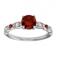 Wholesale Sterling Silver 925 Rhodium Plated Red Center Stone CZ Ring - BGR01191RED