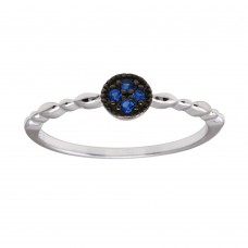 Wholesale Sterling Silver 925 Rhodium Plated Round Shape 4 Blue CZ Ring - BGR01228BLU