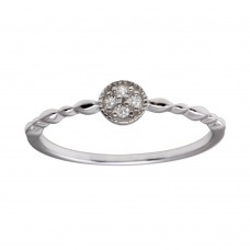 Wholesale Sterling Silver 925 Rhodium Plated Round Shape 4 Clear CZ Ring - BGR01228CLR