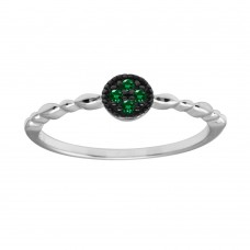 Wholesale Sterling Silver 925 Rhodium Plated Round Shape 4 Green CZ Ring - BGR01228GRN