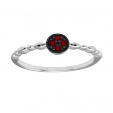 Wholesale Sterling Silver 925 Rhodium Plated Round Shape 4 Red CZ Ring - BGR01228RED