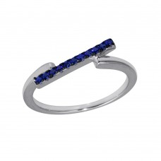 Wholesale Sterling Silver 925 Rhodium Plated Blue CZ Bar Ring - BGR01234BLU