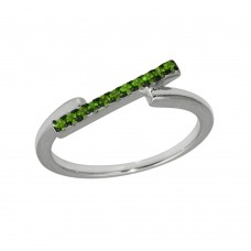 Wholesale Sterling Silver 925 Rhodium Plated Green CZ Bar Ring - BGR01234GRN