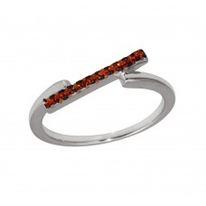 Wholesale Sterling Silver 925 Rhodium Plated Red CZ Bar Ring - BGR01234RED