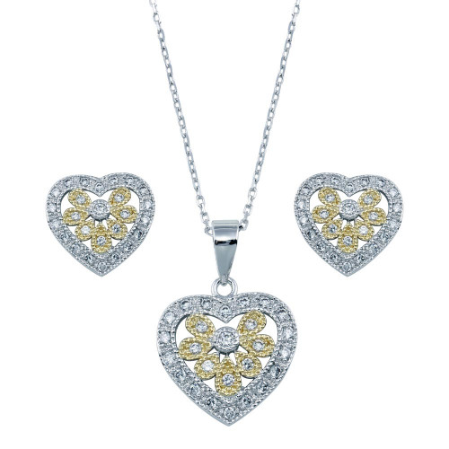 Wholesale Sterling Silver 925 Rhodium Plated Multi Colored Heart CZ Set - BGS00021