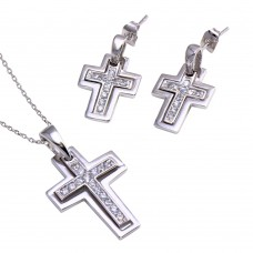 Wholesale Sterling Silver 925 Rhodium Plated Clear Inlay Cross CZ Dangling Stud Earring and Dangling Necklace Set - BGS00025
